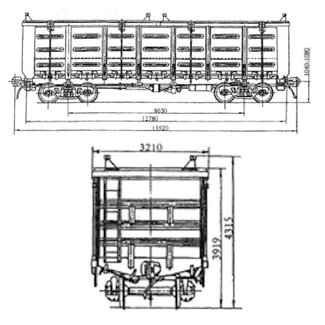 Модель полувагона 12-146